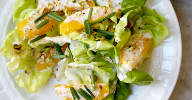 Butter Lettuce Salad with Pistachios and Orange Creme Fraiche Dressing, Lettuce Recipes, One Community
