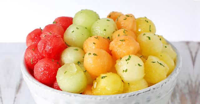 Rainbow Melon Salad, Melon Recipes, One Community