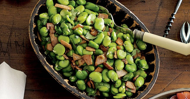 Sauteed Garlic Broad Beans and Bacon with Coriander, Broad Bean Recipes, One Community