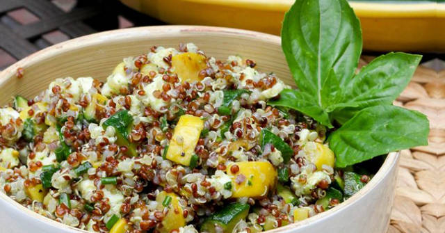 Summer Squash Salad with Quinoa and Mozzarella, Squash Recipes, One Community