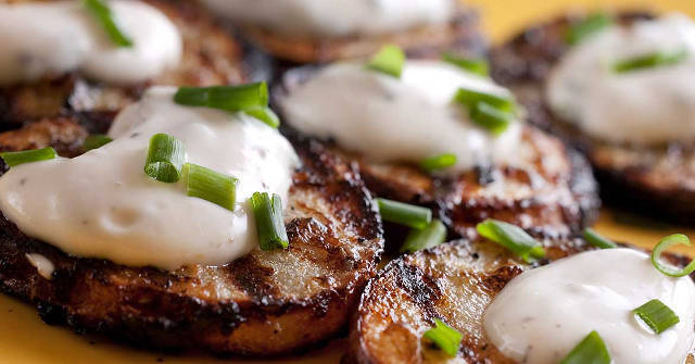 Grilled Potatoes with Chive Sauce, Chive Recipes, Allium Recipes, One Community