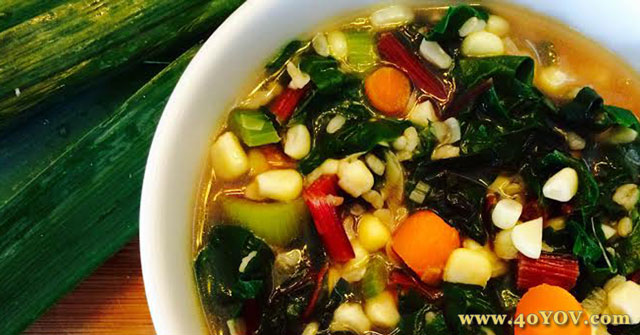 Rainbow Swiss Chard Soup with Leek, Corn and Brown Rice, Brown Rice Recipes, One Community