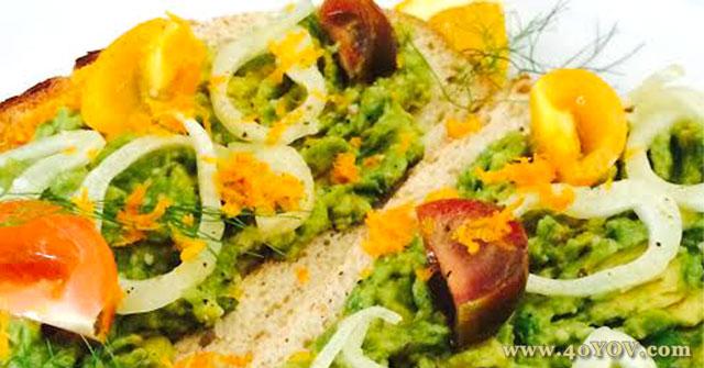 Open Faced Avocado Sandwich with Fennel, Tomato and Orange Vinaigrette, Avocado Recipes, One Community and Orange